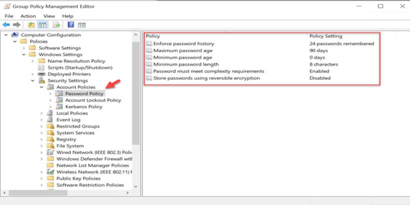 Group Policy Object mật khẩu trên Domain Windows Server